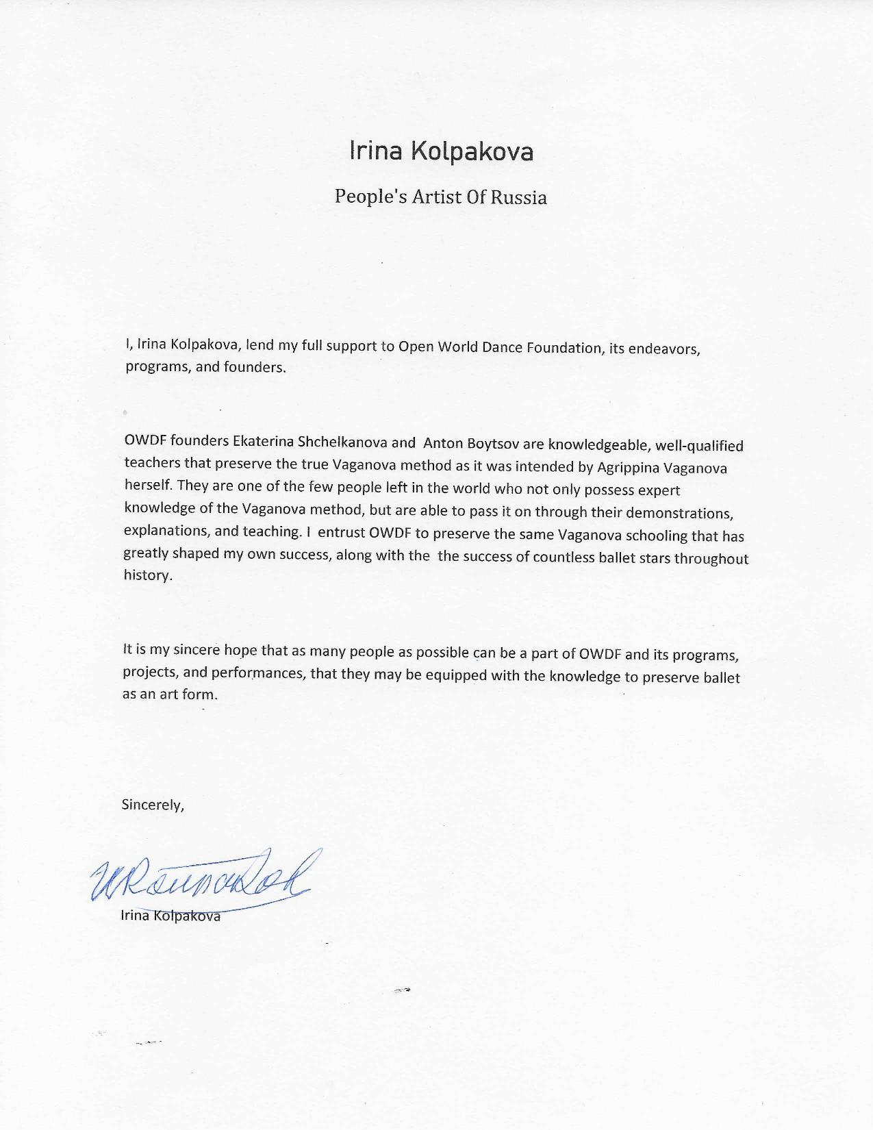 Irina Kolpakova signs Letter of Support for Open World Dance Foundation